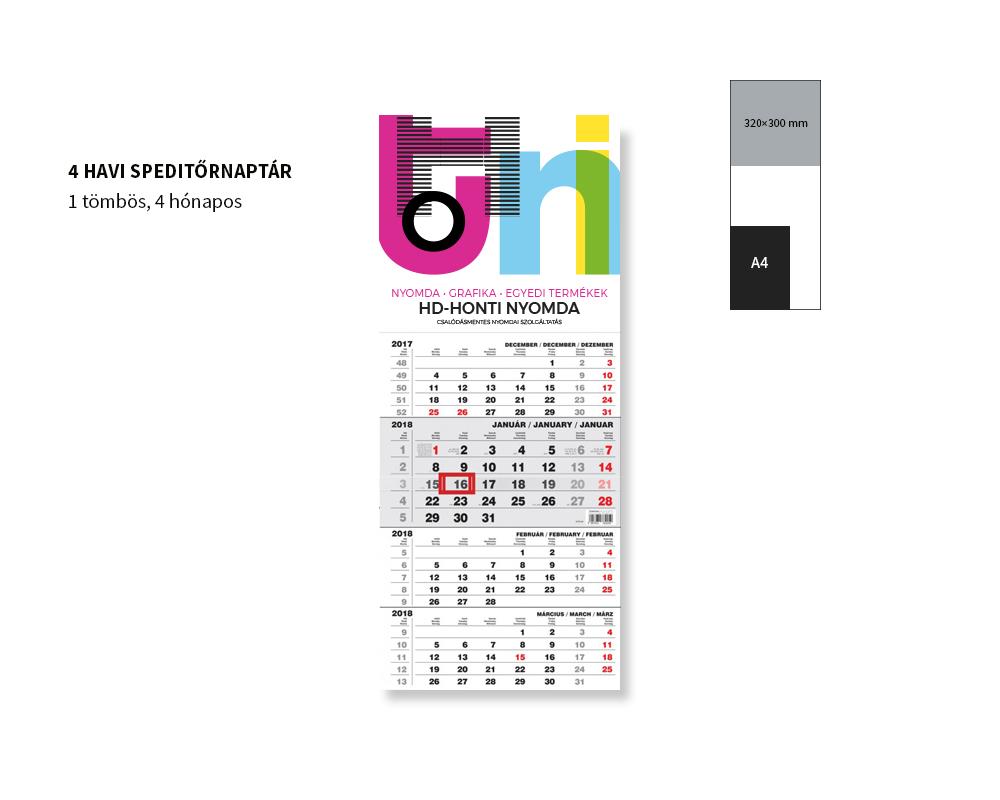 egyedi speditőrnaptár